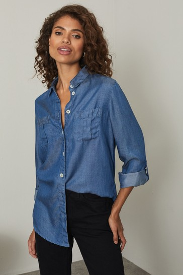 Lipsy Mid Blue Tencel Petite Relaxed Supersoft Utility Shirt