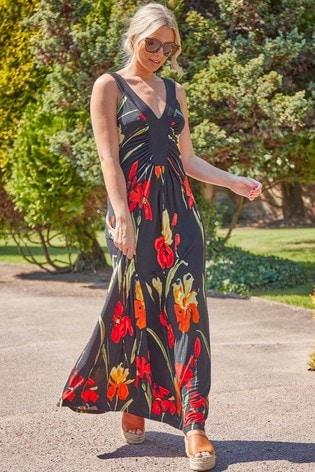 Roman Black Floral Contrast Band Maxi Dress