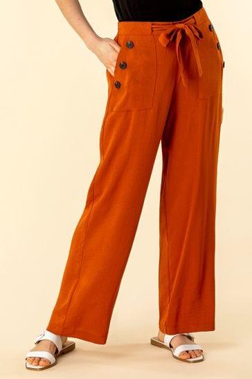 Roman Brown Button Detail Wide Leg Trouser