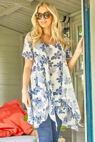Roman Blue Short Sleeve Floral Crinkle Top