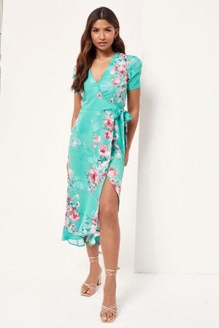 Lipsy Green Ruched Sleeve Wrap Midi Dress