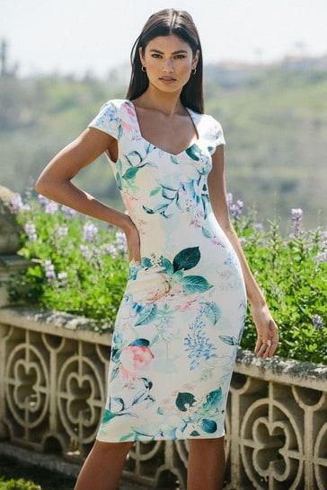 Lipsy White Floral Scuba Sweetheart Cap Sleeve Dress