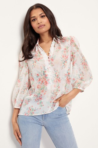 Lipsy White Regular Button Detail Printed Shirt