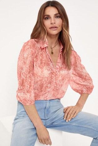 Lipsy Pink Regular Button Detail Printed Shirt