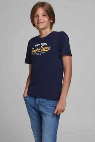 Jack & Jones Junior Navy Authetic Logo T-Shirt