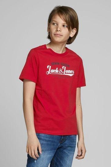 Jack & Jones Junior Red Authentic Logo T-Shirt