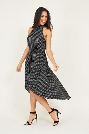 Mela Black London Dalmatian Print Wrap Dress
