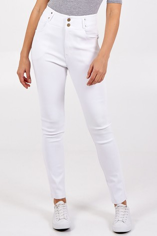 Blue Vanilla White Skinny Fit High Waisted Button Trousers