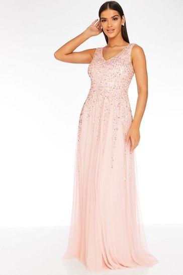 Quiz pink Sequin Embellished Maxi Dress