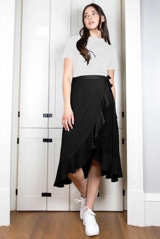 Rae Black Sienna Wrap Skirt