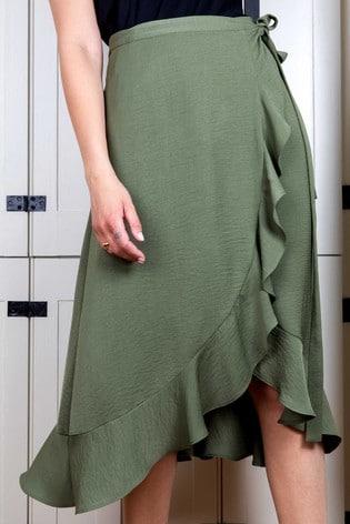 Rae Khaki Sienna Wrap Skirt