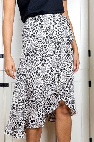 Rae Cream Floral Sienna Wrap Skirt