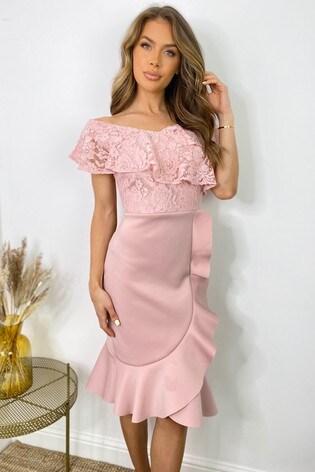 Sistaglam Pink Lace Bardot Midi Dress