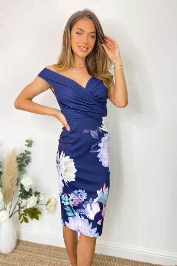 Sistaglam Blue Floral Loves Jess Wrap Dress