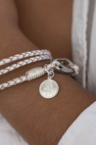 Personalised Saint Christopher Wristband by Oh So Cherished