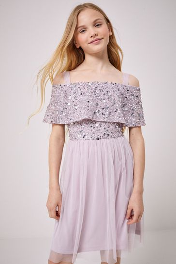 Lipsy Purple Bardot Sequin Top Tulle Dress