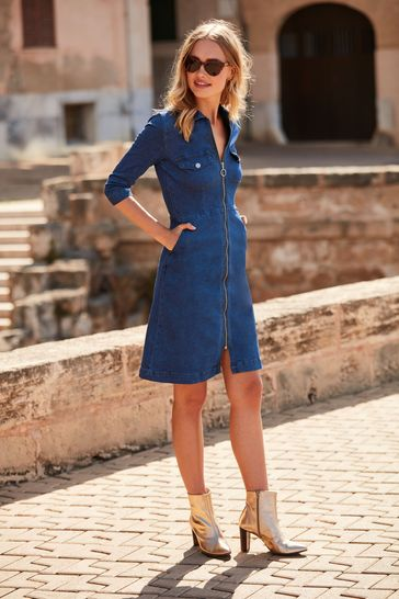 Sosandar mid blue Zip Front Denim Dress