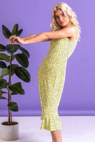 Dusk Yellow Spot Print Frill Hem Midi Dress