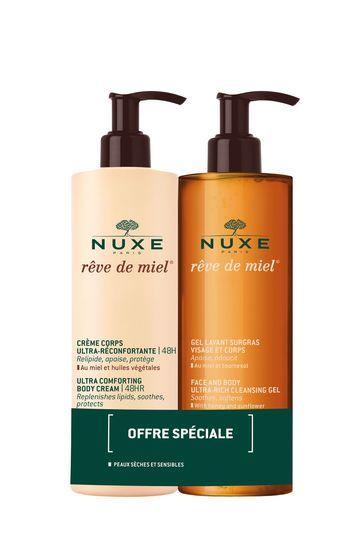 Nuxe Rêve de Miel Body Cream 400ml + Rêve de Miel Face and Body Ultra-Rich Cleansing Gel 400ml (worth £45)