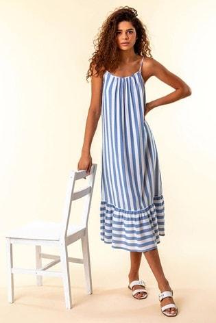 Roman Blue Stripe Print Strappy Beach Dress