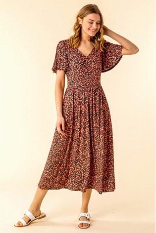 Roman Red Button Detail Floral Tea Dress