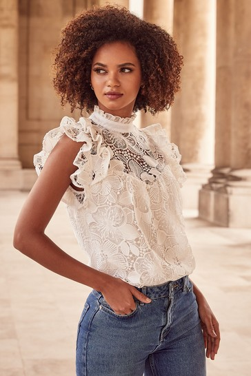 Lipsy White VIP Lace Flutter Sleeve Top