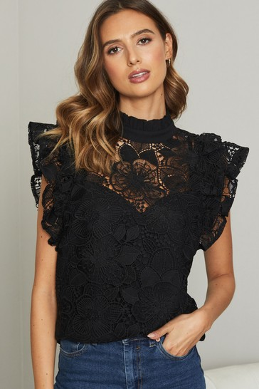 Lipsy Black VIP Lace Flutter Sleeve Top
