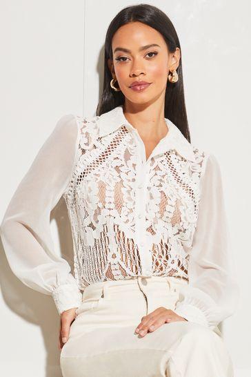 Lipsy White VIP Lace Shirt