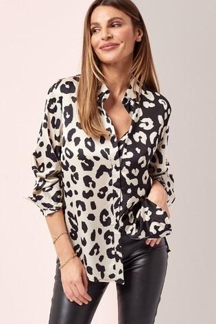Lipsy Mix Animal Regular Oversized Shirt