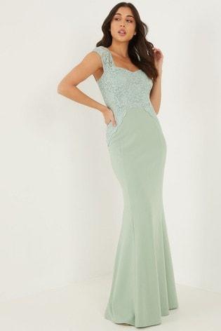 Quiz GREEN Glitter Lace Maxi Dress