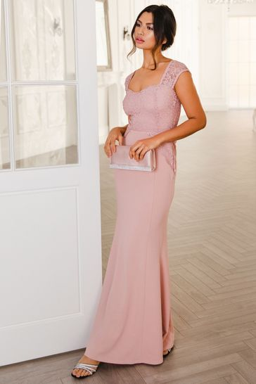 Quiz PINK Glitter Lace Maxi Dress