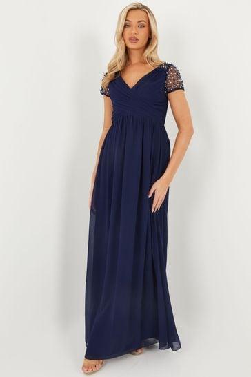 Quiz Blue Wrap Embellished Maxi Dress