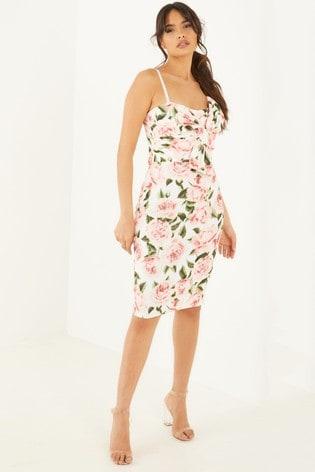 Quiz CREAM Floral Bow Front Midi Dress