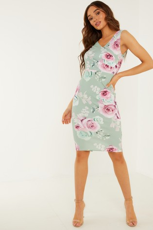 Quiz GREEN Floral Wrap Midi Dress