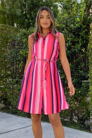 Lipsy Pink Stripe Printed Sleeveless Shirt Dress