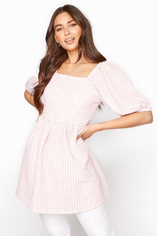 Long Tall Sally Pink Gingham Square Neck Top