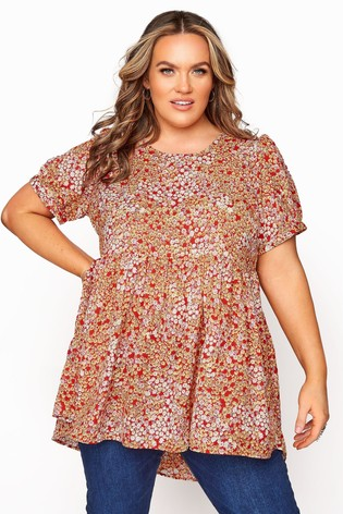 Yours Orange Dip Backpuff Sleeve Floral Peplum Top