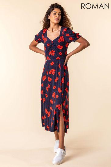Roman Navy Floral Print Ruched Maxi Dress