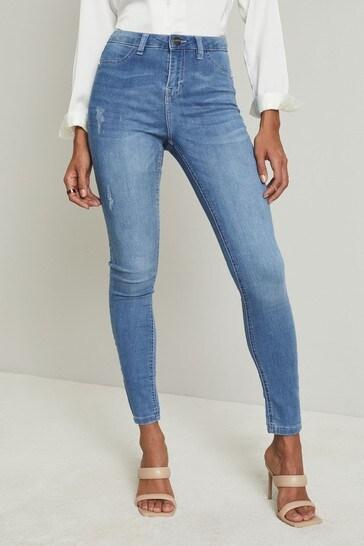 Lipsy Mid Blue Mid Rise Faux Pocket Skinny Jean