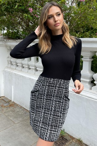 Lipsy White Mono 2 in 1 Knitted Dress
