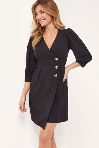 Lipsy Black Mini Wrap Dress