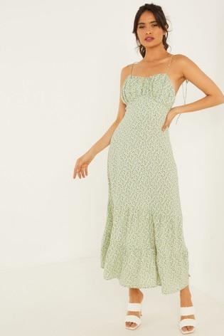 Quiz Green Ditsy Print Strappy Midaxi Dress