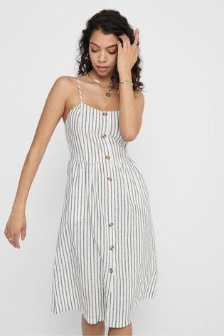 Only Stripe Button Through Midi Dress