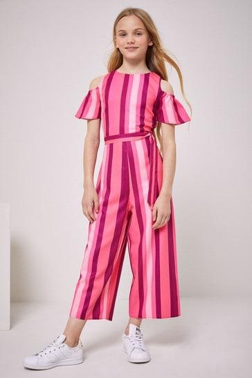 Lipsy Pink Stripe Cold Shoulder Culotte Jumpsuit