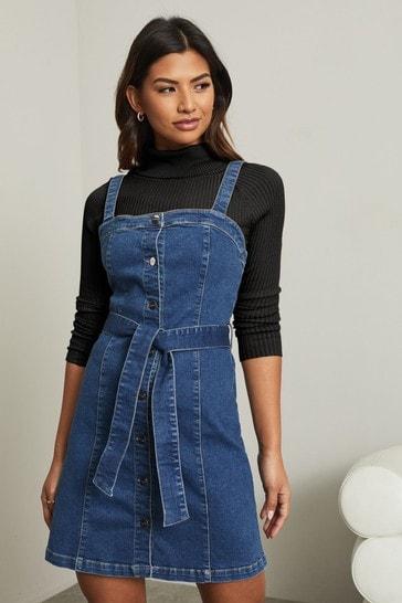 Lipsy Mid Blue Denim Pinafore Dress