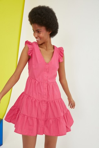 Trendyol Pink Smock Button Down Dress With Frill Shoulder