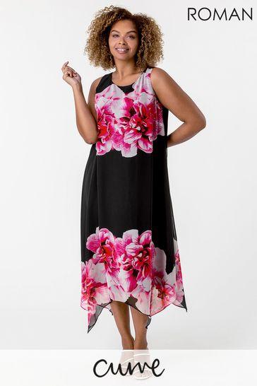 Roman Black Curve Floral Asymmetric Chiffon Dress