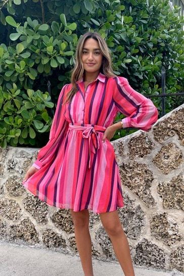 Lipsy Pink Stripe Regular Tie Waist Shirt Dress