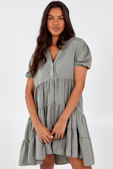Blue Vanilla Khaki Tiered Short Slv Smock Dress