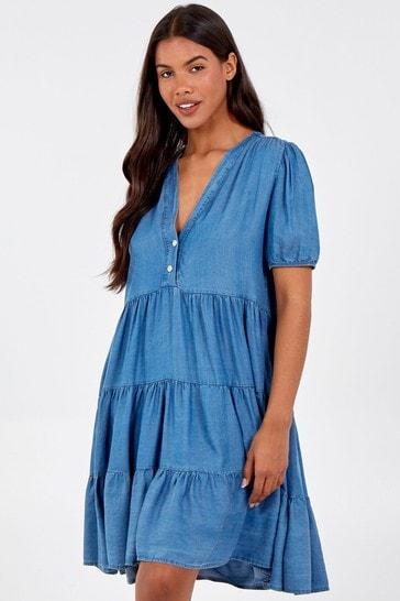 Blue Vanilla Denim Tiered Short Slv Smock Dress